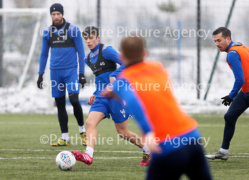 St Johnstone Training...   21.01.21<br />Alex Ferguson pictured during training at McDiarmid Park ahead of Saturday's BetFred Cup semi-final against Hibs at Hampden.<br />Picture by Graeme Hart.<br />Copyright Perthshire Picture Agency<br />Tel: 01738 623350  Mobile: 07990 594431