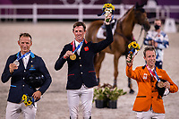 SILVER: SWE-Peder Fredricson (All In); GOLD: GBR-Ben Maher (Explosion W); BRONZE: NED-Maikel van der Vleuten (Beauville Z). The Medal Winners for the Jumping Individual Final. Tokyo 2020 Olympic Games. Wednesday 4 August 2021. Copyright Photo: Libby Law Photography