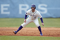 Sam Zayicek (28) of the High Point Panthers takes his lead off of first base against the Bryant Bulldogs at Williard Stadium on February 21, 2021 in  Winston-Salem, North Carolina. The Panthers defeated the Bulldogs 3-2. (Brian Westerholt/Four Seam Images)