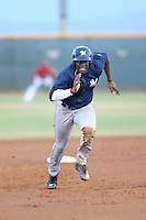 Demi Orimoloye (18) of the AZL Brewers runs the bases during a game against the AZL Reds at the Cincinnati Reds Spring Training Complex on July 5, 2015 in Goodyear, Arizona. Reds defeated Brewers, 9-4. (Larry Goren/Four Seam Images)