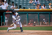 Jose Briceno (10) of the Salt Lake Bees bats against the Albuquerque Isotopes at Smith's Ballpark on April 22, 2018 in Salt Lake City, Utah. The Bees defeated the Isotopes 11-9. (Stephen Smith/Four Seam Images)