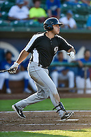 Roberto Ramos (47) of the Grand Junction Rockies follows through on his swing against the Ogden Raptors during the Pioneer League game at Lindquist Field on August 25, 2016 in Ogden, Utah. The Rockies defeated the Raptors 12-3. (Stephen Smith/Four Seam Images)