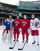 Connor Lacouvee (BU - 30), Brandon Hickey (BU - 4), Chase Phelps (BU - 12), Brien Diffley (BU - 20) - The Boston University Terriers practiced on the rink at Fenway Park on Friday, January 6, 2017.The Boston University Terriers practiced on the rink at Fenway Park on Friday, January 6, 2017.