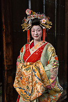 """Japan; Kyoto. Kikugawa, a Tayu or Oiran. Once known as a courtesans, they are highly educated in tea cermony, flower arranging, playing music, calligraphy, are well read and good conversationists. Her black teeth are a sign of beauty. Therare about 5 tayu today, compared to about 300 geisha. """"A tayu is my ideal woman image, I chose to be one. I was also concerned that this culture would disappear."""" Model released."""