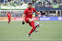 SEATTLE, WA - NOVEMBER 10: Jonathan Osorio #21 of Toronto FC settles the ball during a game between Toronto FC and Seattle Sounders FC at CenturyLink Field on November 10, 2019 in Seattle, Washington.
