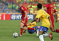 Germany's Sven Bender (6) attempts to get the ball past Brazil's defenses during the FIFA Under 20 World Cup Quarter-final match at the Cairo International Stadium in Cairo, Egypt, on October 10, 2009. Germany lost 2-1 in overtime play.