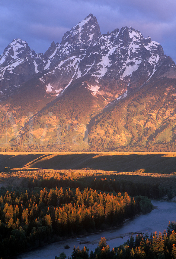 Grand Teton and the Oxbow Bend of the Snake River at sunrise, summer. Grand Teton National Park, WY