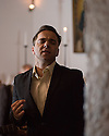 Lisbon, Portugal. 05.05.2015. Luis Matos, Fadista, singing in restaurant Marques da Se, where he is a resident performer. Photograph © Jane Hobson.
