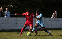 Cameron Gray of Flackwell Heath & Tyreece Briscoe of Tuffley Rovers during the UHLSport Hellenic Premier League match between Flackwell Heath v Tuffley Rovers at Wilks Park, Flackwell Heath, England on 20 April 2019. Photo by Andy Rowland.