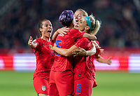 CARSON, CA - FEBRUARY 7: Megan Rapinoe #15 and Julie Ertz #8 of the United States celebrate during a game between Mexico and USWNT at Dignity Health Sports Park on February 7, 2020 in Carson, California.