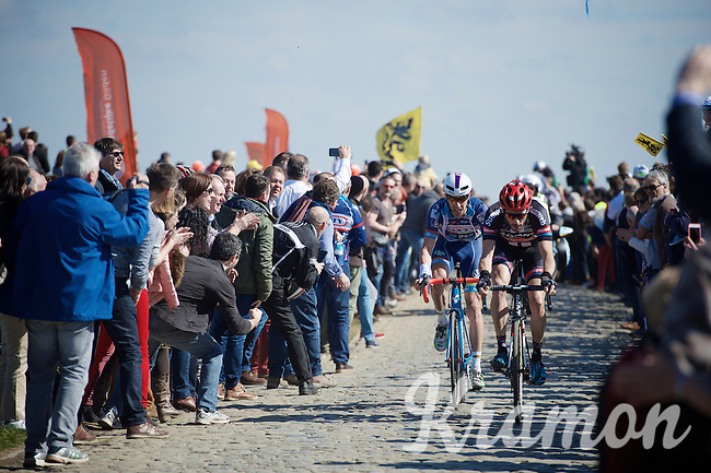 Roy Curvers (NLD/Giant-Alpecin) & Kenny De Haes (BEL/Wanty-Groupe Gobert) over the first cobble section of the day: the Huisepontweg<br /> <br /> 100th Ronde van Vlaanderen 2016