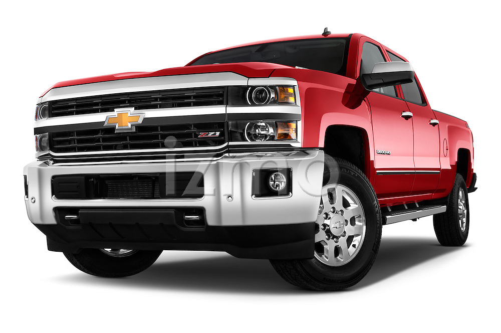 Stock pictures of a low aggressive front three quarter view of a 2015 Chevrolet Silverado 2500 4 Door Van