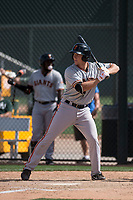 San Francisco Giants third baseman Shane Matheny (17) during a Minor League Spring Training game against the Oakland Athletics at Lew Wolff Training Complex on March 26, 2018 in Mesa, Arizona. (Zachary Lucy/Four Seam Images)