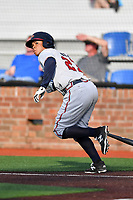 Danville Braves designated hitter Leudys Baez (27) runs to first base during a game against the  Johnson City Cardinals at TVA Credit Union Ballpark on July 23, 2017 in Johnson City, Tennessee. The Cardinals defeated the Braves 8-5. (Tony Farlow/Four Seam Images)