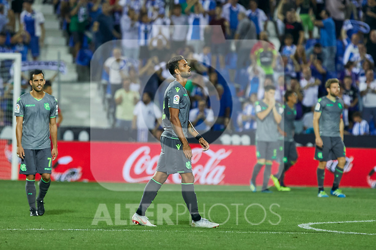 Real Sociedad's Juan Miguel Jimenez and Willian Jose Da Silva during La Liga match. August 24, 2018. (ALTERPHOTOS/A. Perez Meca)