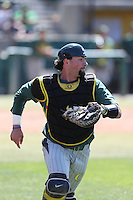 Tim Susnara (6) of the Oregon Ducks in the field during a game against the Southern California Trojans at Dedeaux Field on April 18, 2015 in Los Angeles, California. Oregon defeated Southern California, 15-4. (Larry Goren/Four Seam Images)