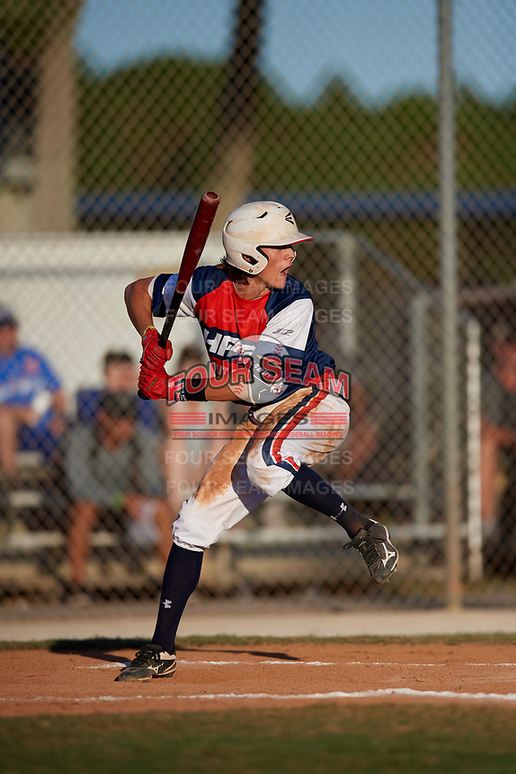Hunter Cramer during the WWBA World Championship at the Roger Dean Complex on October 20, 2018 in Jupiter, Florida.  Hunter Cramer is a shortstop from Conroe, Texas who attends Oak Ridge High School and is committed to Arkansas.  (Mike Janes/Four Seam Images)