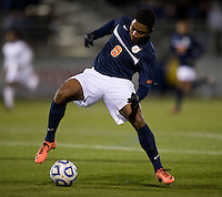 Darius Madison (9) of Virginia controls the ball in the box during the game at the Maryland SoccerPlex in Germantown, MD. North Carolina defeated Virginia on penalty kicks after playing to a 0-0 tie in regulation time.  With the win the Tarheels advanced to the finals of the ACC men's soccer tournament.