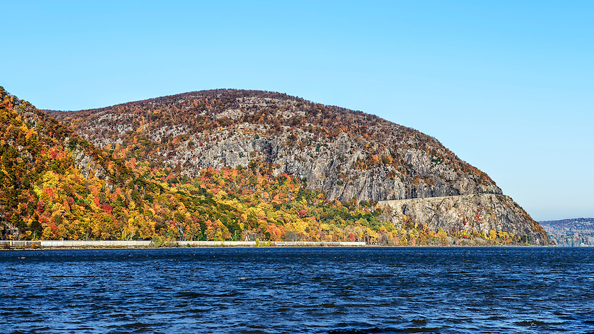 Storm King Mountain, on the west bank of the Hudson River just north of West Point, as seen in early morning from Cold Spring on the east bank of the Hudson.
