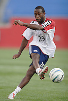 The Revolution's Easton Wilson during pre game warm ups. The New England Revolution defeated the MetroStars 4 to 2 at Gillette Stadium, Foxbourgh, MA, on June 25, 2005.