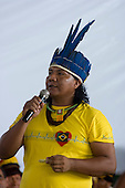 "Altamira, Brazil. ""Xingu Vivo Para Sempre"" protest meeting about the proposed Belo Monte hydroeletric dam and other dams on the Xingu river and its tributaries. Satere-Maue Indian speaking on behalf of COIAB."