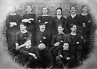 BNPS.co.uk (01202 558833)<br /> Pic: Pen&SwordBooks/BNPS<br /> <br /> Pictured: The Royal Engineers in 1875.<br /> <br /> A historian believes he has uncovered a previously unknown participant in the first ever FA Cup final.<br /> <br /> James Bancroft is convinced Lieutenant George Barker represented the Royal Engineers in the 1872 final against the Wanderers.<br /> <br /> However, he is not listed in any official records or football books written about the showpiece occasion.<br /> <br /> Mr Bancroft said he has found newspaper reports with Lt Barker on the team-sheet and he appears in full kit in the Royal Engineers post-match team photo.<br /> <br /> He outlines his theory in his new book, The Early Years of the FA Cup, which charts the rise and fall of the Royal Engineers, the only military team to win the trophy.