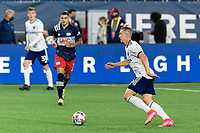 FOXBOROUGH, MA - APRIL 24: Russell Canouse #6 of D.C. United brings the ball forward during a game between D.C. United and New England Revolution at Gillette Stadium on April 24, 2021 in Foxborough, Massachusetts.