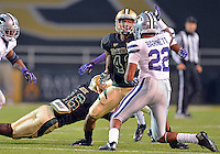 Kansas State defensive back DANTE BARNETT (22) attempts to tackle Baylor inside receiver LEVI NORWOOD (42) as Baylor inside receiver TEVIN REESE (16) attempts to catch a pass during NCAA Football game at Floyd Casey Stadium in Waco, Texas. Baylor defeats number one Kansas State 52-24