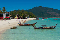 Longtail taxi boats on Sunrise beach, Koh Lipe, Thailand