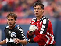 San Jose Earthquakes midfielder Ned Grabavoy (11) and New York Red Bulls goalkeeper Jon Conway (18) maneuver for position before a corner kick. during a Major League Soccer match at Giants Stadium in East Rutherford, NJ, on April 27, 2008.