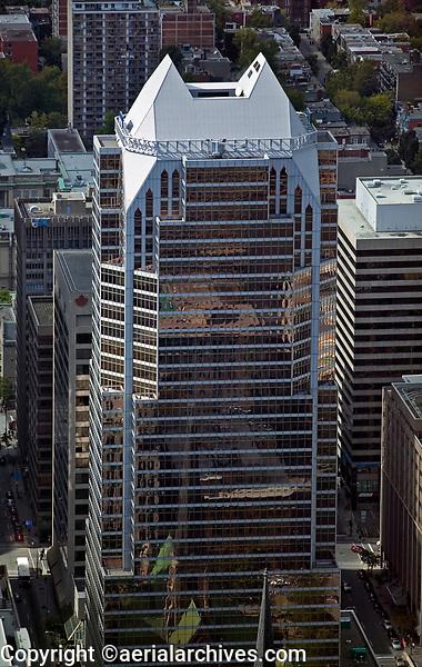 aerial photograph of the KPM Tower, Montreal, Quebec, Canada, formerly Maison des Coopérants or Place de la Cathédrale, 600 de Maisonneuve Ouest | photographie aérienne de la tour KPM, Montréal, Québec, Canada