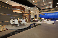 """Stock photo of ultra modern dining room """"floating"""" on water feature"""