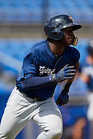 Lakeland Flying Tigers center fielder Daz Cameron (25) runs to first base during a game against the Dunedin Blue Jays on May 27, 2018 at Dunedin Stadium in Dunedin, Florida.  Lakeland defeated Dunedin 2-1.  (Mike Janes/Four Seam Images)