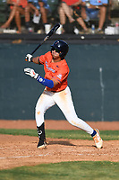 Orlando Salinas Jr. (18) (Oklahoma State) of the Kingsport Axemen during a game against the Bristol State Liners on June 13, 2021 at Boyce Cox Field in Bristol, Virginia. (Tracy Proffitt/Four Seam Images)