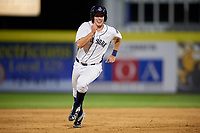 Binghamton Rumble Ponies third baseman David Thompson (8) running the bases during a game against the Altoona Curve on May 17, 2017 at NYSEG Stadium in Binghamton, New York.  Altoona defeated Binghamton 8-6.  (Mike Janes/Four Seam Images)