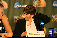 6 April 2008: Stanford Cardinal Jayne Appel (left) and head coach Tara VanDerveer (right) during Stanford's 82-73 win against the Connecticut Huskies in the 2008 NCAA Division I Women's Basketball Final Four semifinal game at the St. Pete Times Forum Arena in Tampa Bay, FL.