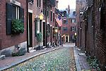 N.A., USA, Massachussetts, Boston, Beacon Hill, Cobblestone Street