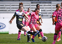 Niekie Pellens (41) of Eendracht Aalst pictured in a duel with Jennifer Marie Jeanne Bouchenna (17) of Sporting Charleroi during a female soccer game between Eendracht Aalst and Sporting Charleroi on the 18 th and last matchday before the play offs of the 2020 - 2021 season of Belgian Scooore Womens Super League , Saturday 27 th of March 2021  in Aalst , Belgium . PHOTO SPORTPIX.BE | SPP | DAVID CATRY