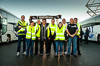Saturday 11 January 2014<br /> Pictured: Ugo Vallero and the bus stewards of Swansea city travel club <br /> Re: Swansea City Travel Club