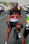 Fabian Cancellara (SUI) Radioshack-Nissan Trek chats with Robbie McEwen (AUS) Greenedge Cycling Team before the start of Stage 1 of the Tour of Qatar 2012 running 142.5km from Barzan Towers to Doha Golf Club, Doha, Qatar. 5th February 2012.<br /> (Photo by Eoin Clarke/NEWSFILE).