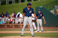 Potomac Nationals starting pitcher Joan Baez (18) looks in for the sign during the first game of a doubleheader against the Lynchburg Hillcats on June 9, 2018 at Calvin Falwell Field in Lynchburg, Virginia.  Lynchburg defeated Potomac 5-3.  (Mike Janes/Four Seam Images)