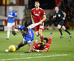 06.02.2019:Aberdeen v Rangers: Alfredo Morelos fouled on the edge of the box by Shay Logan