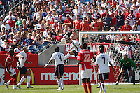 USA defender (3) Carlos Bocanegra heads the ball away from the US goal. USA defeated Panama 2-1 in a CONCACAF Gold Cup quarter final game at Gillette Stadium, Foxbourgh, MA, on June 16, 2007.