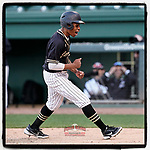 Ben White (5) of the T.L Hanna High School Yellow Jackets shouts after scoring the go-ahead run in a 4-3 win over the Greer High School Yellow Jackets on Saturday, March 20, 2021, at Fluor Field at the West End in Greenville, South Carolina. (Tom Priddy/Four Seam Images)