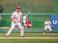 6 April 2015: Washington Nationals second baseman Dan Uggla in action during the 9th inning of Home Opening Game against the New York Mets at Nationals Park in Washington, DC. The Mets rallied to defeat the Nationals 3-1 in their first meeting of the 2015 MLB season. Mandatory Credit: Ed Wolfstein Photo *** RAW (NEF) Image File Available ***