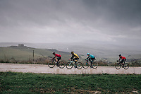Victor Campenaerts (BEL/Lotto-Soudal) leading the race while heavy rain torments the peloton<br /> <br /> 12th Strade Bianche 2018<br /> Siena > Siena: 184km (ITALY)