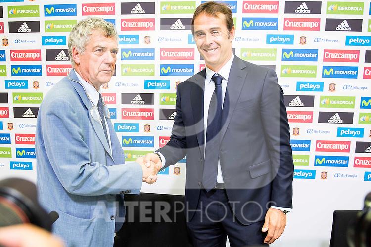 Spanish sports leader Angel Maria Villar (L) and basque coach Julen Lopetegui (R) is presented as new coach of the Spanish Team at Ciudad del Futbol in Las Rozas, Madrid. Spain. 21 July. 2016. (ALTERPHOTOS/Borja B.Hojas)