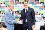 Spanish sports leader Angel Maria Villar (L) and basque coach Julen Lopetegui (R) is presented as new coach of the Spanish Team at Ciudad del Futbol in Las Rozas, Madrid. Spain. 21 July. 2016. (ALTERPHOTOS/Borja B.Hojas)