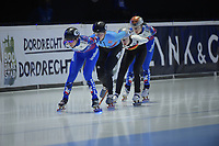 SPEEDSKATING: DORDRECHT: 05-03-2021, ISU World Short Track Speedskating Championships, QF 1500m Ladies, Ekaterina Efremenkova (RSU), Tineke den Dulk (BEL), Gina Jacobs (GER), Sofia Prosvirnova (RSU), ©photo Martin de Jong