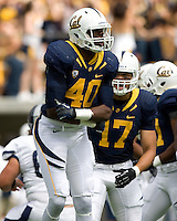 Chris McCain of California celebrates after making a big play during the game against Nevada at Memorial Stadium in Berkeley, California on September 1st, 2012.  Nevada Wolf Pack defeated California, 31-24.